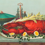 Luxurious dinner feast consisting of lobster, hard boiled eggs, and vegetables by L. Prang & Co., (c.1877). Original from Library of Congress. Digitally enhanced by rawpixel. thumbnail