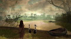 Two is company (Second Life images) Tags: pelican bird sea beach woman girl model tree retouched filter panoramic view
