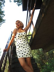 Polka dots. (KurenaiSutcliff) Tags: model sensual makeup blonde blondegirl girl sexy red redlips pin up pinup lady photoset photoshoot lovely lovelygirl polka dot dotty 50s 40s blondehair elegant 50style 50stylehair woman shorthair short hair photo photogirl redlip street streetwear white whitepolka polkadots whitedress