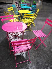 Pastels in the rain (35mmMan) Tags: pastels tables chairs metal rain cityoflondon urban colours huaweip20pro empty square mile city london