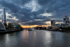 Sunset over London City (Giacomo Ferroni) Tags: skyline cityscape marina townscape dusk downtown district city riverbank water taxi clouds cloudscape sunset shard walkietalkie london uk thames tower bridge view canon eos hms hmsbelfast