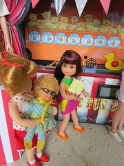 13. Impressed (Foxy Belle) Tags: doll vintage barbie diorama summer carnival fair 16 scale playscale food beach sand boardwalk ice cream stand game tutti chris muffy mrs beasley toy