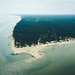 Aerial view of cape Kolka, Baltic sea, Latvia