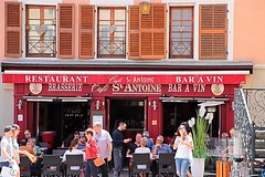 Annecy, France (Haytham M.) Tags: candid historic windows restaurant shop coffee street france