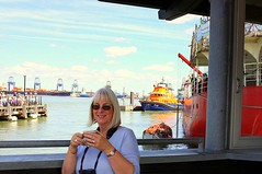 Hello Sailor! (Chris Baines) Tags: harwich quay cafe pat having coffe in background felixstowe docks cranes containers