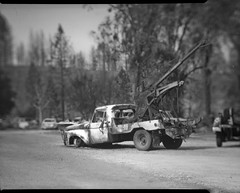 Carr fire aftermath on 4x5 film (Garrett Meyers) Tags: rbgraflex4x5 burnedcar burntcar burned ash carrfire wildfire forestfire backhoe towtruck largeformat 4x5film graflex graflex4x5 garrettmeyers garrett meyers homedeveloped burneddownhouse northerncalifornia