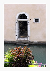 back door (overthemoon) Tags: france annecy hautesavoie houses pastel pastelcolours river backs oldtown frame doors windows
