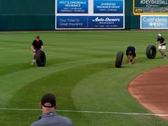 Let's Roll Some Tires! 002 (mwlguide) Tags: baseball midwestleague bowlinggreenhotrods lansinglugnuts ballpark lansing leagues ballyard omd em1ii tire games em1 4203 michigan omdem1mkii olympus 2018 20180814hotrodslugnutsem1raw1184203