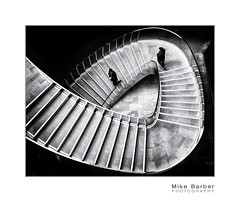 Doppelganger (mcb photography) Tags: london street stairs staircase bw blackandwhite mikebarber mcbphotography monochrome grain curve urban doppelganger multipleexposure
