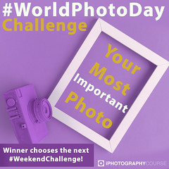 #WorldPhotoDay Challenge - Your Most Important Photograph (iPhotographyCourse) Tags: world photo day worldphotoday 2018 photography celebration most important picture weeklychallenge weekendchallenge iphotography photographytutorial photographygame photographycompetition composition competition purple camera white frame yellow text game free entry onlinelearing elearning distancelearning online