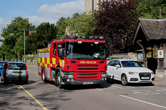 Essex County Fire & Rescue Service . EU59GHD . Stansted Road , Bishop's Stortford , Hertfordshire . Tuesday 21st-August-2018 . (AndrewHA's) Tags: bishop's stortford hertfordshire scania appliance eu59ghd p270 essex fire rescue service 999 emergency blue lights