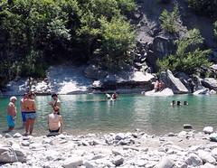Bathing at the Trebbia river, near Bobbio, Italy (marionvankempen) Tags: nature people throughherlens