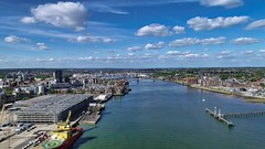 Southampton UK - River Itchen (thephantomzone2018) Tags: dji drone docks dock thephantomzone2018 cruise cruises aerial vts abp departure liner harbour gb queen mary 2 mein southampton ship solent schiff boat