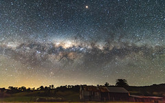 Milky Way over a Farm Shed (Merrillie) Tags: night glitter landscape winter astrophotography australia rural newsouthwales astro nightsky astrology country astronomy outside milkyway tree shed nsw outdoors farm pinetree sky stars gresford
