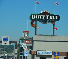 Pan Can Duty Free (afagen) Tags: washingtonstate blaine paccandutyfree dutyfree sign border
