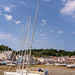 Yachts in St Aubin harbour in Jersey.