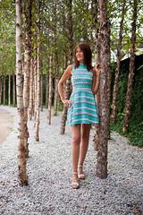 Portrait (Glennskitchen) Tags: hot redhead sexy 50 mature model blue dress mini nikon d700 dslr 35mm f18g fx bokeh trees