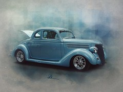 Blue Thirty Six (novice09) Tags: backtothefifties carshow ford coupe streetrod 1936 fotosketcher ipiccy