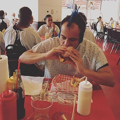 While in Vegas we took a side trip to the terrifying Heart Attack Grill. We almost died. We definitely got paddled. And my cutie still looks adorable eating a terrifyingly huge burger. Win win win. . . . . . #vegas #defcon #heartattackgrill #burgers #nore (ClevrCat) Tags: ifttt instagram while vegas we took side trip terrifying heart attack grill almost died definitely got paddled and cutie still looks adorable eating terrifyingly huge burger win defcon heartattackgrill burgers noregrets mohawks