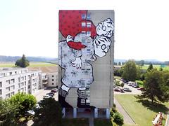 YVERDON LES BAINS. SUISSE. 08.2018 (Ella & Pitr) Tags: ellapitr landart wall mural giant geant mamie drone art oeuvre mur ella pitr yverdon castrum swiss