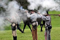 CONFEDERATE TROOPS (MIKECNY) Tags: confederate south civilwar grantcottage wilton shoot smoke gun rifle musket cvilwarweekend reenactment