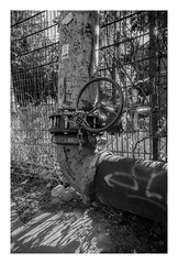 Chained wheel (rudeskull) Tags: rohr pip scann negativscann berlin bw blanconegro bianconero blackandwith blaufilter ostberlin ost noiretblanc nikonf5 atomal49 analog city deutschland eastberlin eastgermany fp4 film friedrichshain germany ilford street streetart