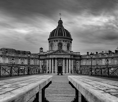 Pont des Arts (Aleem Yousaf) Tags: exposure long pont arts france passerelle des pedestrian paris river seine institut central square cour carrée metal bridge arches benches monochrome black white overcast dome architecture historic building louisalexandredecessart jacquesdillon arch steel padlocks love locks nikon 2470mm structure walking tourism travel clouds d810 nikkor europe cloudscape weekend morning national cityscape icon parisian