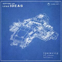 Classic Spaceship Sation (CARLIERTI) Tags: lego space spaceship blender mecabricks carlierti render blueprint ship legomoc legoideas ideas