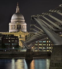 St Pauls & Millennium Bridge (perkster24) Tags: hdr hdrphotography hdrlondon hdratnight london longexposure nightphotography travelphotography travel photo24london stpaulscathedral stpauls millenniumbridge millennium night