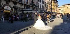 Illuminated! (Helenɑ) Tags: bride groom wedding florence italy square public