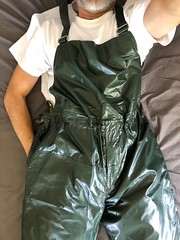 Lazying in the bed. (Ubootman) Tags: workwear workgear workpants rainwear raingear rainpants pvc