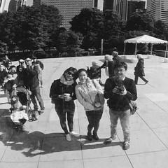 dear friends (doistrakh) Tags: chicago illinois cloudgate millenniumpark usa unitedstates travel america tlr twinlensreflex rolleiflex rolleiflex35e mediumformat vintageanalogue vintagecamera 120camera 120film 6x6 square film monochrome bw blackandwhite city cityscape reflection fujifilm neopan acros100 friend