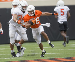 Oklahoma State Cowboy Football Scrimmage, Sunday, August 12, 2018, Boone Pickens Stadium, Stillwater, OK. Bruce Waterfield/OSU Athletics (OSUAthletics) Tags: 2018 big12 cowboys fallcamp football oklahomastate oklahomastateuniversity osu pokes practice scrimmage