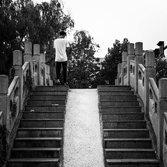 Up to down (Go-tea 郭天) Tags: qingdaoshi shandongsheng chine cn qingdao huangdao shandong bridge channel old ancient new replica up down through crossing cross across man young alone lonely trees traditional tradition history historical historic stairs steps walk walking movement street urban city outside outdoor people candid bw bnw black white blackwhite blackandwhite monochrome naturallight natural light asia asian china chinese canon eos 100d 24mm prime back backside