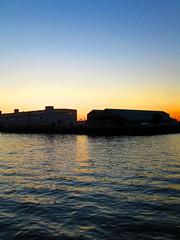 Barrier (Cutting Monkey) Tags: sky sea ocean bostonharbor sunset dusk water reflection