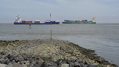 On collision course? (Manfred_H.) Tags: vehicles fahrzeuge ships shipway containerschiff containercarrier river elbe cuxhaven nordsee northsea schifffahrtsstrase