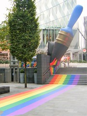 Gay Pride symbol 🌈🌈🌈MANCHESTER ..paintbrush = Spinningfields = RAINBOW (rossendale2016) Tags: decorated handle stone premises food steep new footpath stripes imaginative clever rare 🌈🌈🌈🌈🌈🌈🌈🌈🌈🌈 rainbow bristles brush paint colorful smooth paved modernistic walkway walk pavement pedestrian traffic stops bus adjacent modern building scotland bank footwear jewellers bars pubs busy massive court crown out eating evening time night daytime popular restaurants thisphotorocks steps blue typearticle balloon lgbt lancashire deansgate off spinningfields interesting unusual iconic icon colour colourful symbol pride gay centre city art street manchester