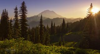 Sunset in the Mountains. (Mt Rainier NP, Chinook Pass, WA)