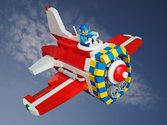 Super Guppy Racer (David Roberts 01341) Tags: lego minifigure aeroplane airplane aircraft jet unlimitedclassracer red