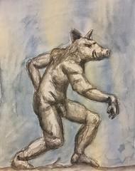 Pigman (Howard TJ) Tags: watercolor fantasycreature pig drawing