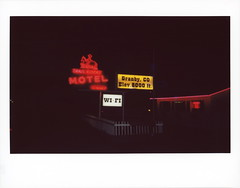 Trail Riders Neon 1 (tobysx70) Tags: fujifilm fuji instax wide color instant film bigpitchers 500af camera trail riders neon east agate avenue granby colorado co sign lit illuminated night nocturnal wifi no vacancy elevation 8000 ft feet glow handheld red yellow pink motel polaradoone polarado 072118 toby hancock photography