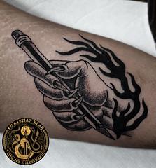 La pasión del lápiz (Bastian Klak) Tags: pencil tattoo tatuaje ink blackwork hand passion flame kla klak gac bastian santiago chile fumachines causasuitattoo