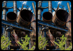 Open Pipes (Stereo) (tombentz33) Tags: stereo stereoscopic 3d crossview industrial rusty factories