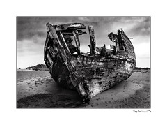 The Wreck for Canvas_2041 X BW (The Terry Eve Archive) Tags: wreck wooden boards weathered sand beach