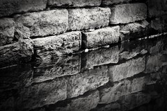 Waters edge (jmiller35) Tags: blackwhite bw wall reflection canal water bricks riverlife england greatbritain outdoors canon holiday relax