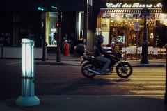 night owl (Nuf Kadok) Tags: paris night streetphotography bike motorbike café hat red city urban sony a7m2 a7ii zeiss