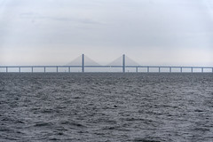 Sailing on tall ship Christian Radich (NO) towards Øresund bridge between Denmark and Sweden (Ingunn Eriksen) Tags: øresundbridge øresundsbroen bridge railwaybridge symmetry öresundsbron nikond750 nikon