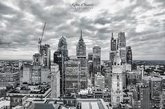 Philadelphia City Skyline in Black and White (Kofla Olivieri) Tags: adobephotoshopelements koflaolivieri cityhall downtown centercity marketstreet loewshotel 33rdfloor skyline night longexposure topazadjust