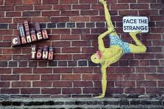 Gymnastics (Simon Crubellier) Tags: cans europe england uk londonist tz60 streetart lumix graffiti simoncrubellier panasonic london britain camden pasteup facethestrange