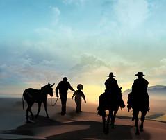 The two travelers (jaci XIII) Tags: viajantes cavaleiros burro cavalo pessoa fábula menino velho homem travelers knight knights man old fable